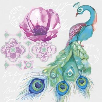 peacock with flower