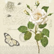 Paper Napkins White Rose Butterfly Love Letter