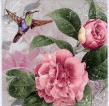 Paper Napkin Hummingbird Pink Roses