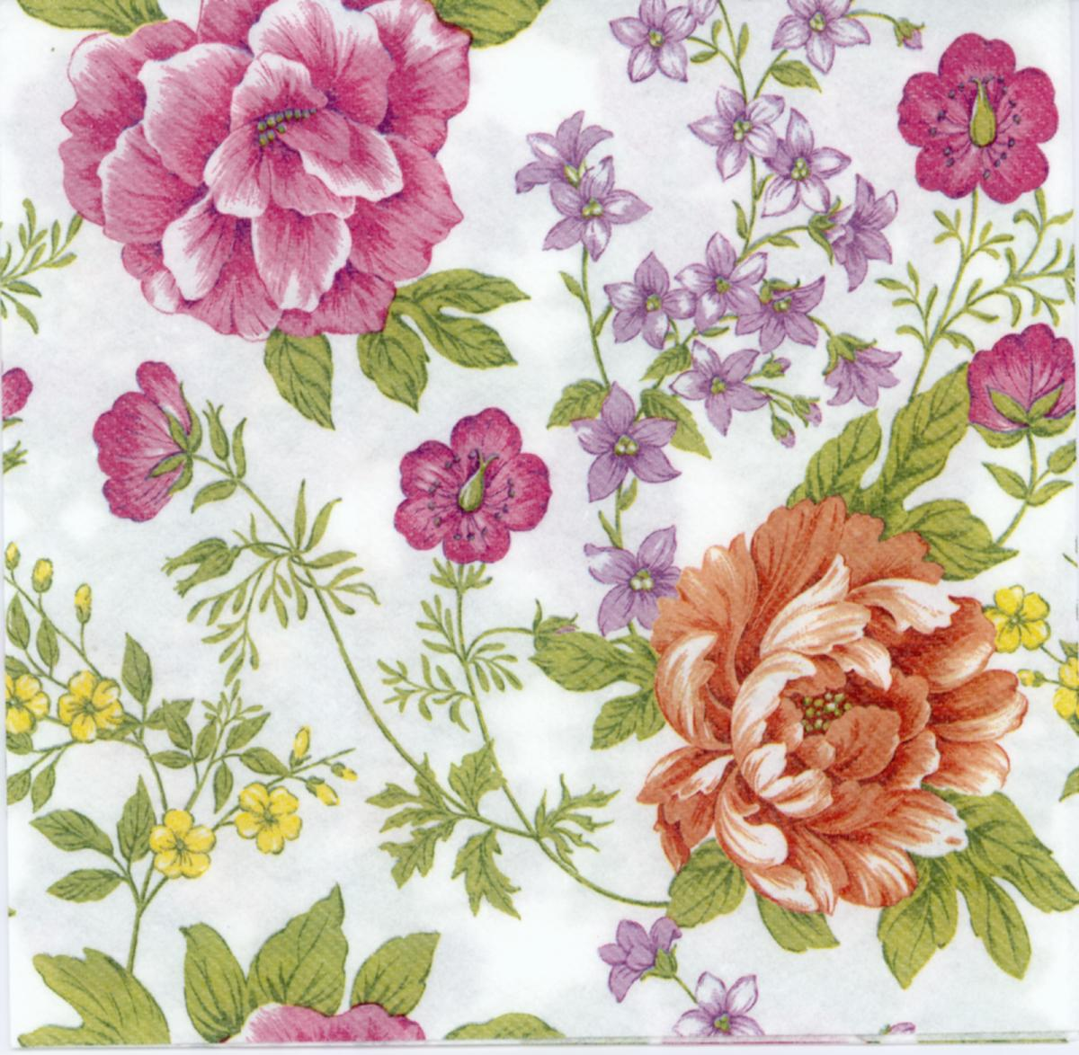 Airlaid Decoupage Napkins Of Yellow And Pink Peony L Peony Bouquet