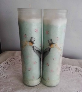 Wedding Moment Napkin Decoupage on Candle Holder