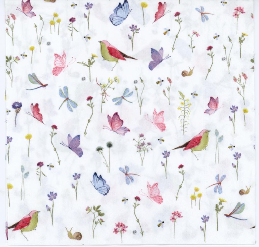 Decorative Paper Napkins Of Birds Butterflies And Dragonflies In The Fresh Breeze Garden Luncheon Napkins For Decoupage