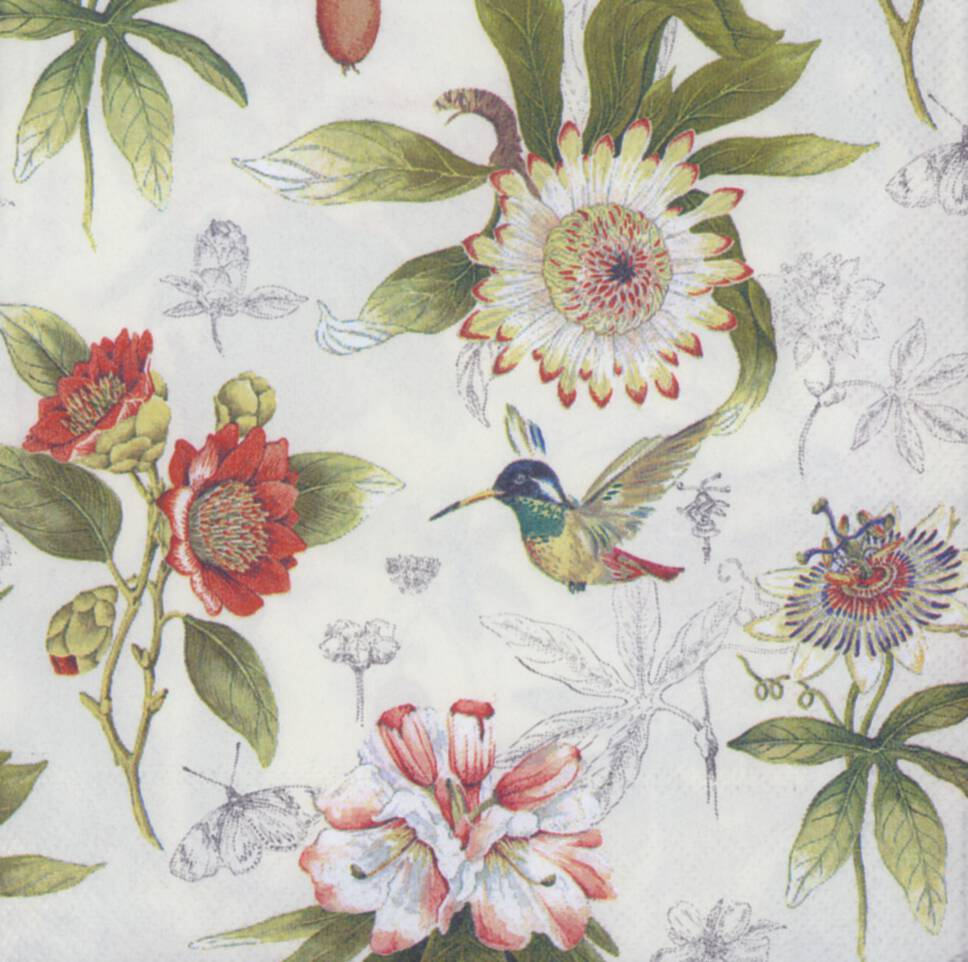 Decoupage paper napkins of flowers and hummingbird mightylinksfo