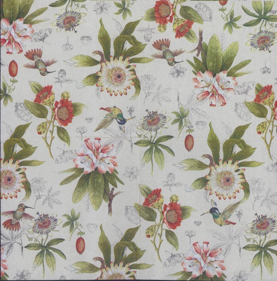 Decoupage paper napkins of flowers and hummingbird mightylinksfo