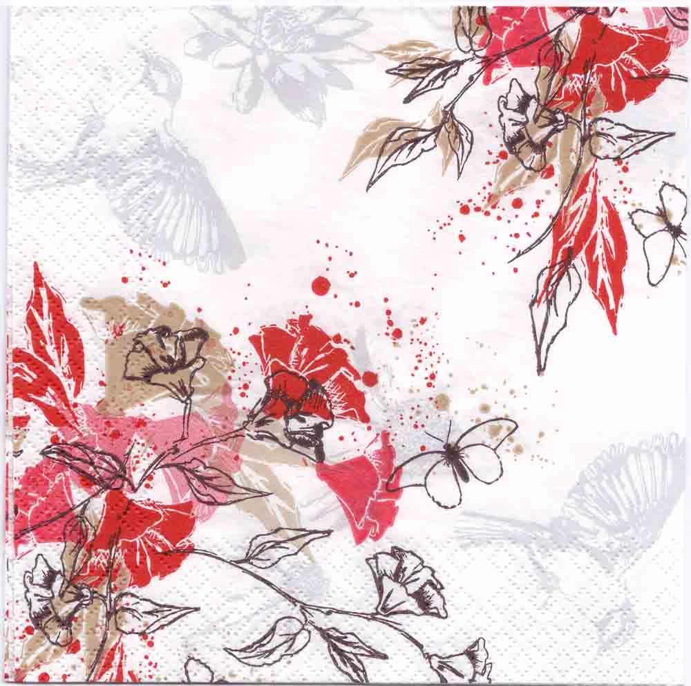 Decoupage Paper Napkins of Japanese Flowers Birds Butterflies