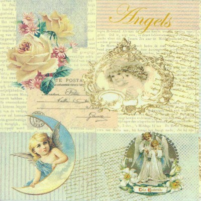 Decoupage Paper of  Angels and Roses Napkins