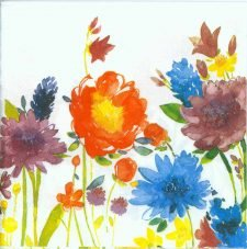 Decoupage Paper Napkins of Flower Garden in Watercolor