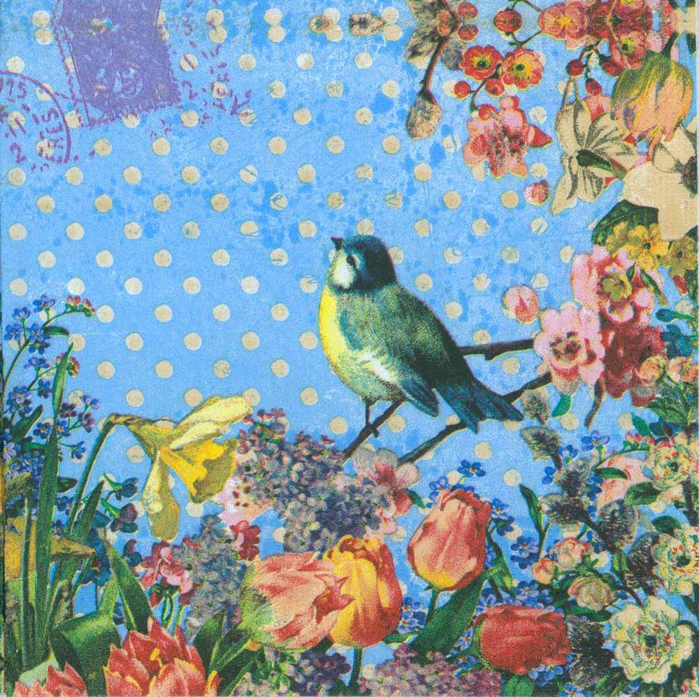 Decoupage Paper Of A Blue Bird In A Flower Garden Napkins