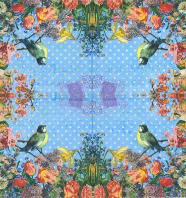 Decoupage Paper of  Blue Bird in a Flower Garden Napkins