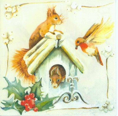 Decoupage Paper Napkins of Bird and Squirrels in a Birdhouse