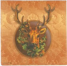 Decoupage Paper Napkins of Deer with Wreath