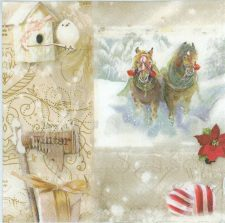 Decoupage Paper of  Christmas Horses in the Snow Napkins