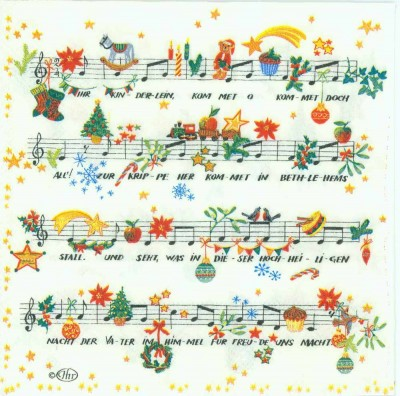 Decoupage Paper Napkins of O Come Little Children Sheet Music