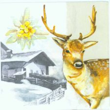 Decoupage Napkins of Deer in Winter Snow with Mountain Home