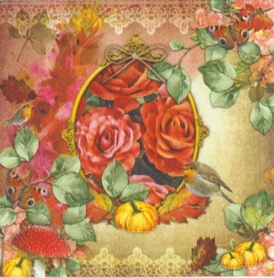 Decoupage Paper Napkins of Robin Roses and Pumpkins
