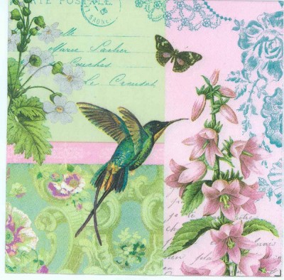 Decoupage Napkins of Hummingbird Butterfly and Flowers