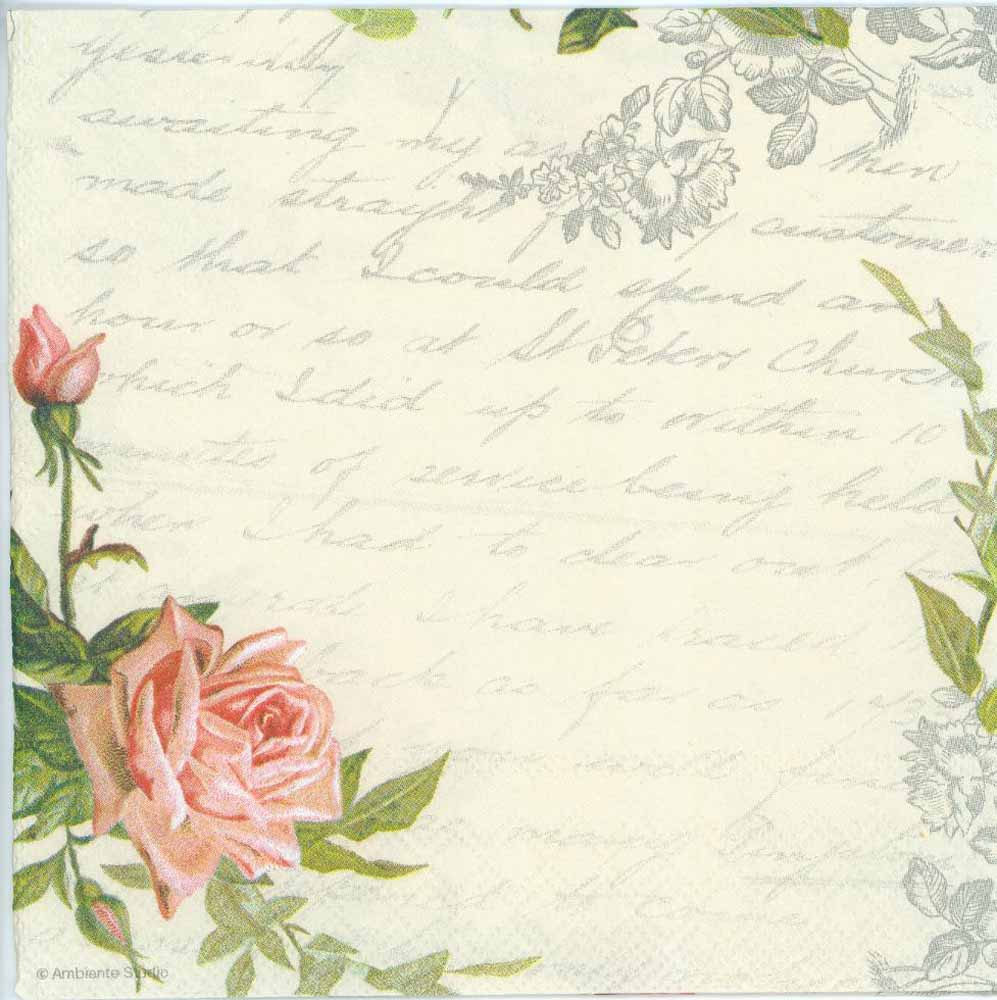decoupage paper of love letter with rose napkins
