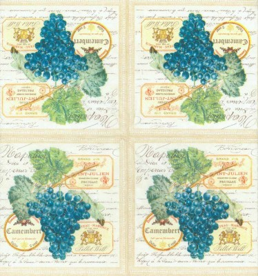 Decoupage Paper of  Merlot Wine Grapes Napkins
