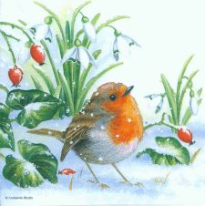 Decoupage Paper Napkins of Robin in the Snow with Holly