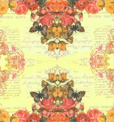 Decoupage Paper of  Roses Butterfly on a Postcard Napkins