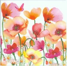 Decoupage Paper of  Poppies and Daisies in Watercolor Napkins