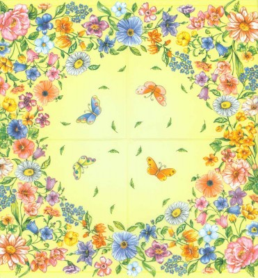 Decoupage Paper of  Wild Flower Garden Butterflies Napkins