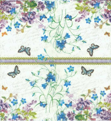 Decoupage Napkins of Wild Flower Garden Butterflies Music