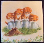 Decoupage Paper Art Napkin - Four Kittens