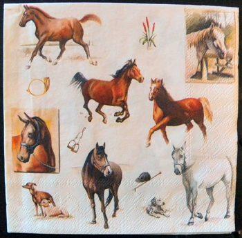 Decoupage Paper Art Napkin - Horses of the Fox Hunt