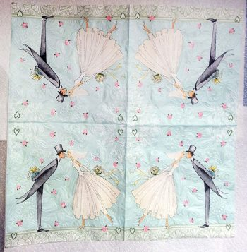 Decoupage Paper Art Napkin - Bride and Groom Wedding Kiss
