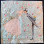Decoupage Paper Art Napkin - Bride and Groom Wedding Kiss