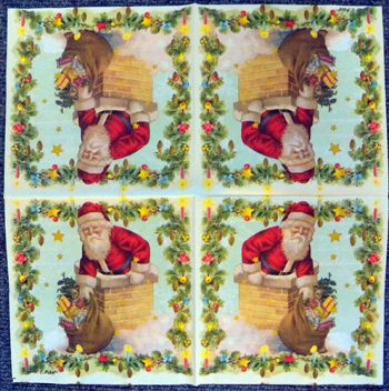 Decoupage Paper Art Napkin - Santa in the Chimney