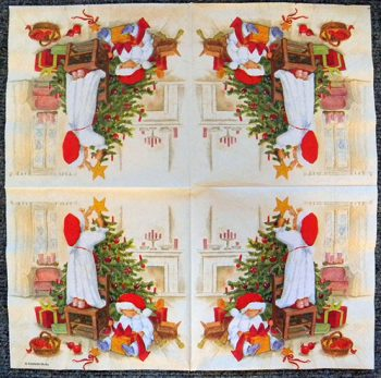 Decoupage Paper Art Napkin - Waiting for Christmas