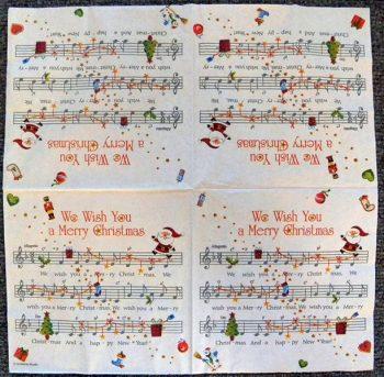 Decoupage Paper Art Napkin - We Wish You a Merry Christmas Music
