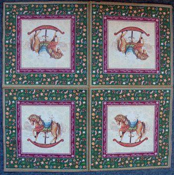 Decoupage Paper Art Napkin - Christmas Rocking Horse