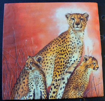 Decoupage Paper Art Napkin - Cheetah and Cubs