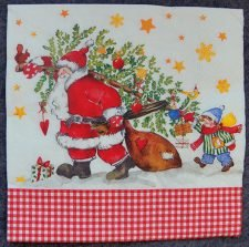 Decoupage Paper Art Napkin - Santa's Little Helper
