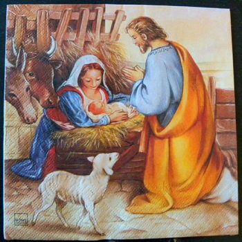 Decoupage Paper Art Napkin - Away in a Manger