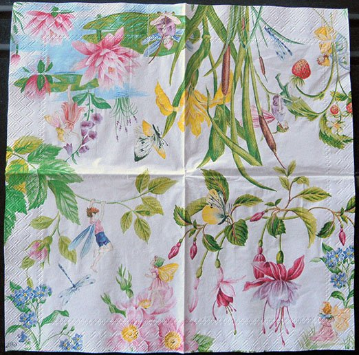 Decoupage Paper Of Garden Of Fairies On White Napkin