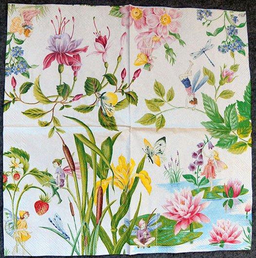 Decoupage Paper Of Garden Fairies Napkin Chiarotino