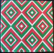 Decoupage Paper Art Napkin | Squadra Pattern in Cream and Green