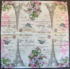 Decoupage Paper Art Napkin - Eiffel Tower