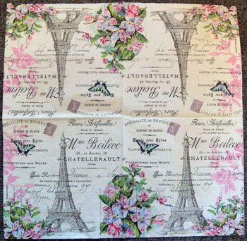 Decoupage Paper Art Napkin - Eiffel Tower