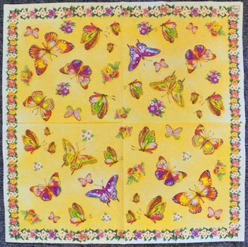 Decoupage Paper Art Napkin - Classic Butterflies and Flowers