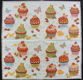 Decoupage Paper Art Napkin - Cupcake Party