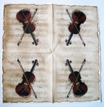 Decoupage Paper Art Napkin | Violin on Sheet Music
