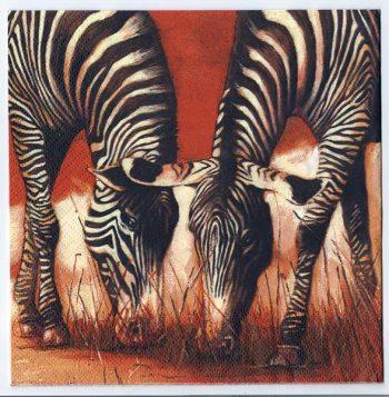 Decoupage Paper Art Napkin   Zebras