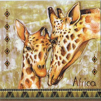 Decoupage Paper Art Napkin | Giraffe Mother and Child