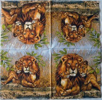 Decoupage Paper Art Napkin | Lion Family