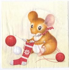 Decoupage Paper Art Napkin | Christmas Mice